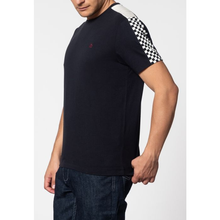 Image for HILLGATE, ska print T-shirt with short sleeves and round neck collar in Dark Navy