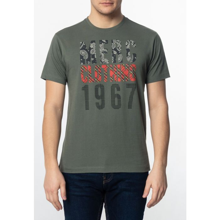 Image for Malcolm Mens Cotton T-Shirt with Branded Print in Combat Green