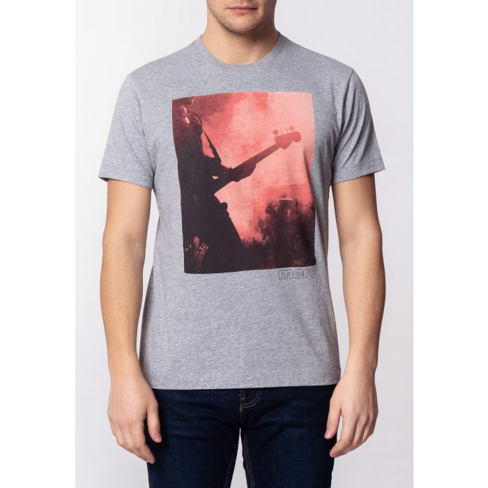 Image for PORTER, Men's Cotton T-Shirt with Large Music Poster Print in Grey Marl