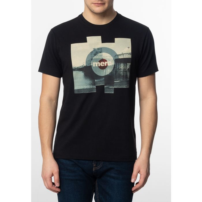 Image for Brett Mens Cotton T-Shirt with Pier Photo Print in Black