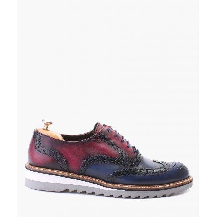 Image for Navy and bordeaux leather oxford brogue shoes
