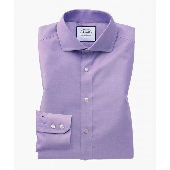 Image for Lilac pure cotton extra slim fit cutaway collar twill shirt