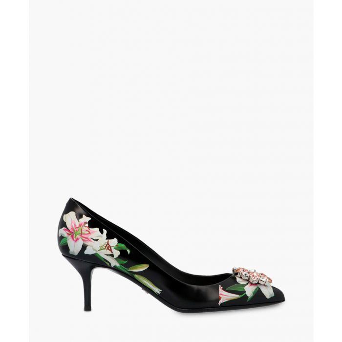 Image for Belluci black leather lily print pumps