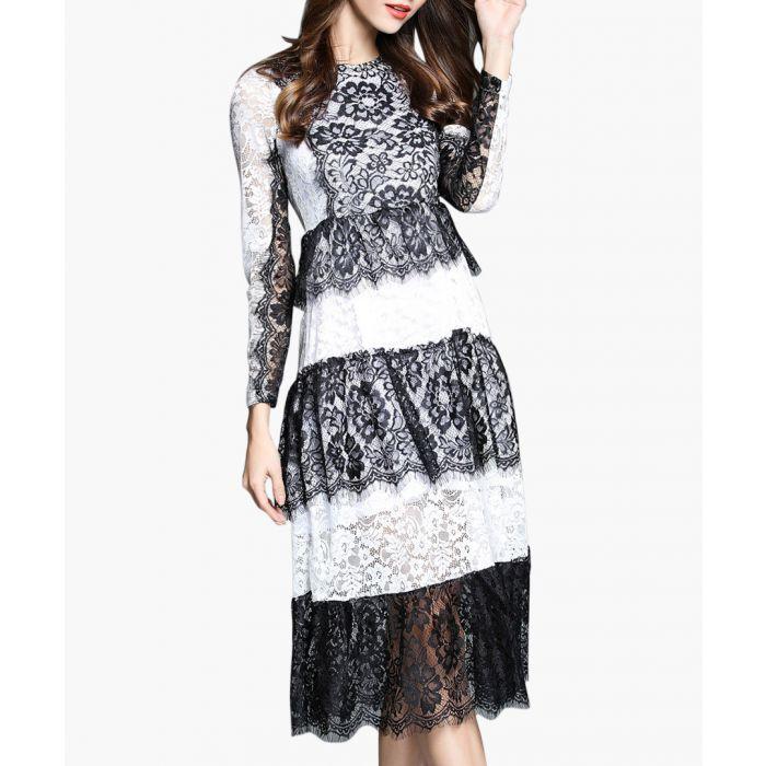 Image for White & black lace panel midi dress