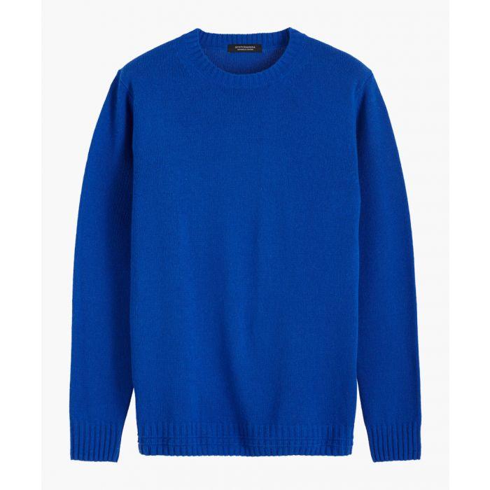 Image for Cobalt blue wool-blend crew neck jumper