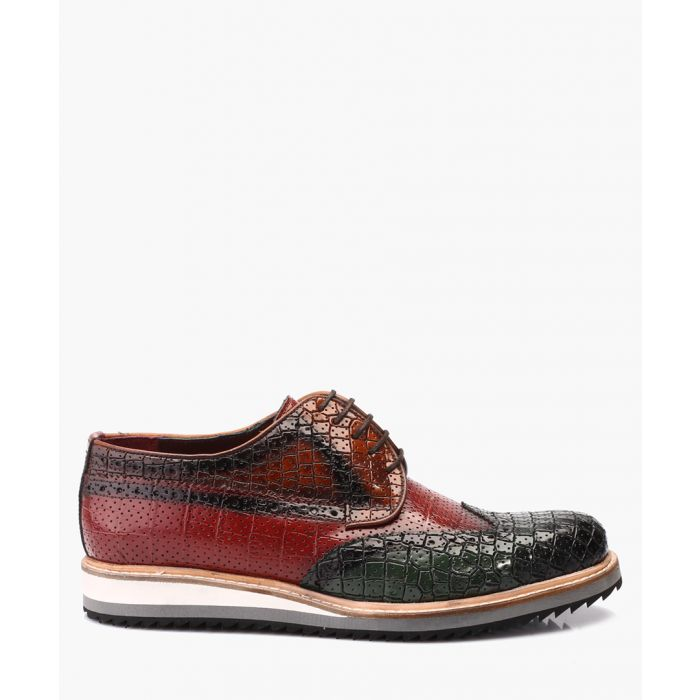 Image for Green leather Derby shoes