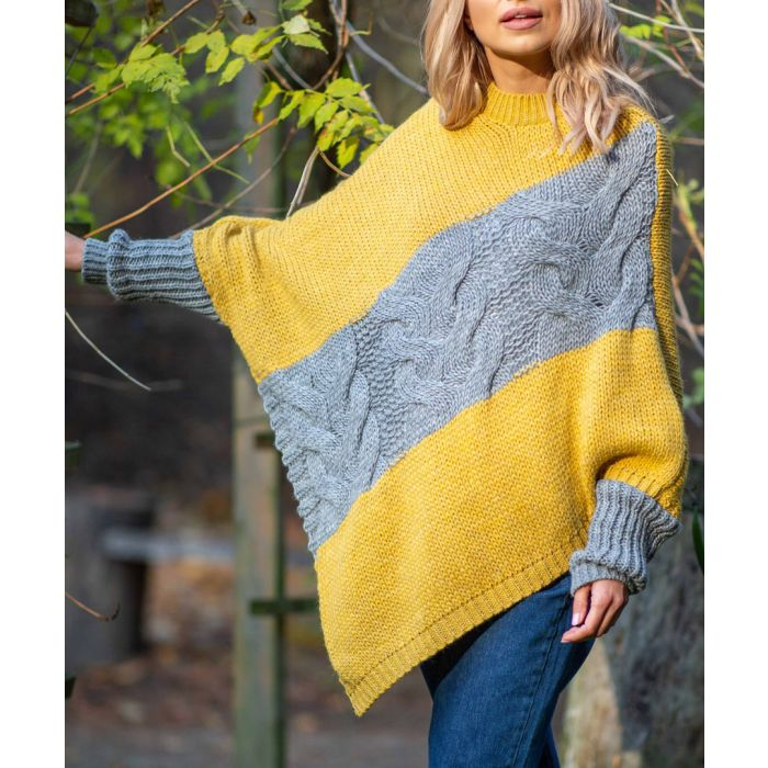 Image for Ceylon yellow knitted alpaca and wool blend poncho