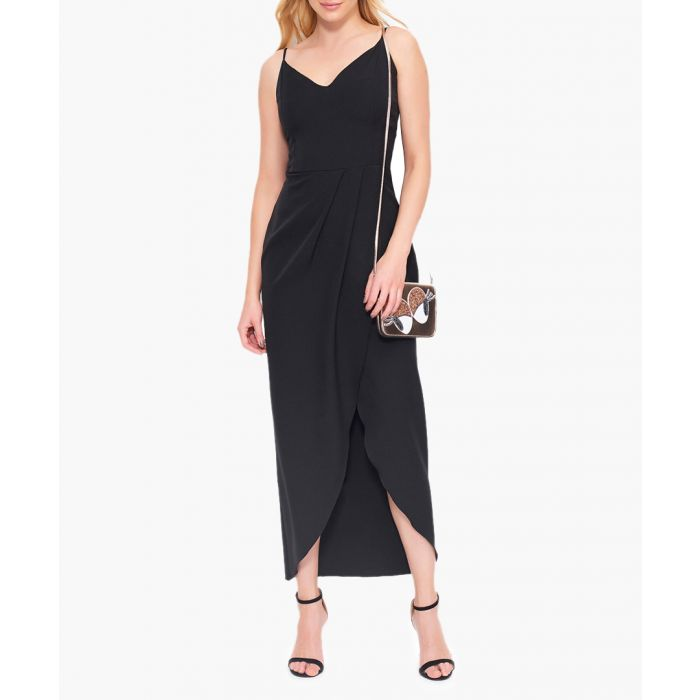 Image for Black strappy wrap maxi dress
