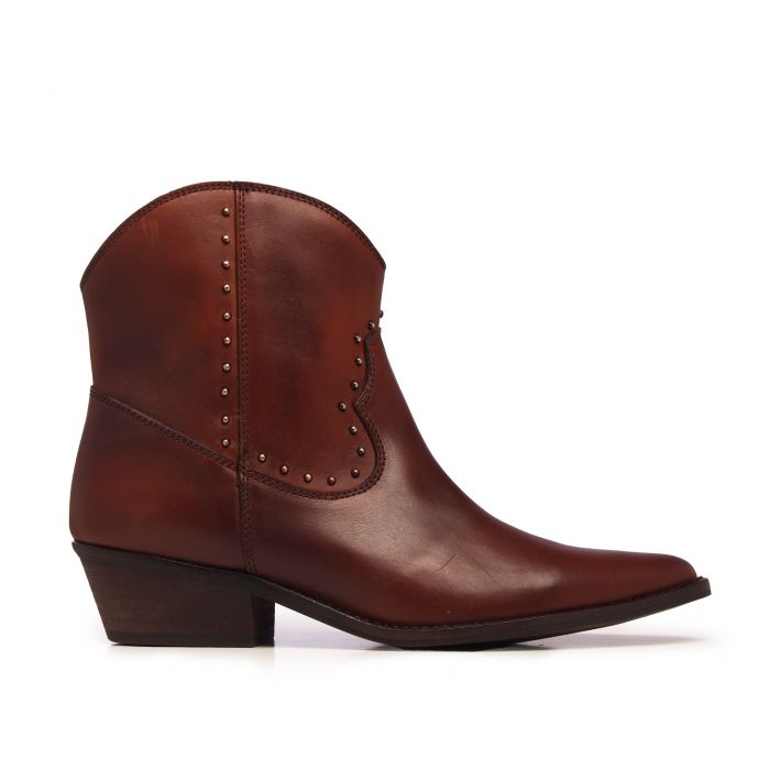 Image for Eva López Leather Ankle Boots Cowboy Brown Woman