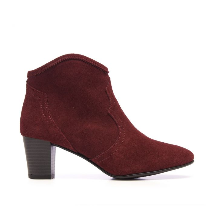 Image for Eva López Leather Ankle Boots Heel Bordeaux Woman