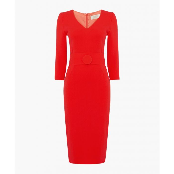 Image for Fox red pure wool crepe pencil dress