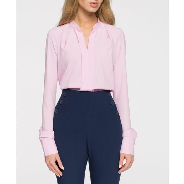 Image for Powder pink bar collar blouse