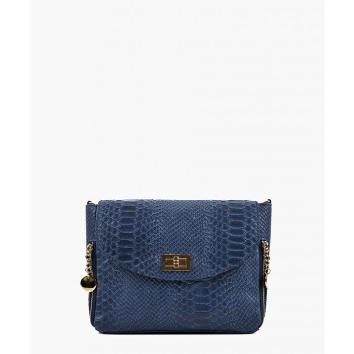 Image for Blue printed leather crossbody