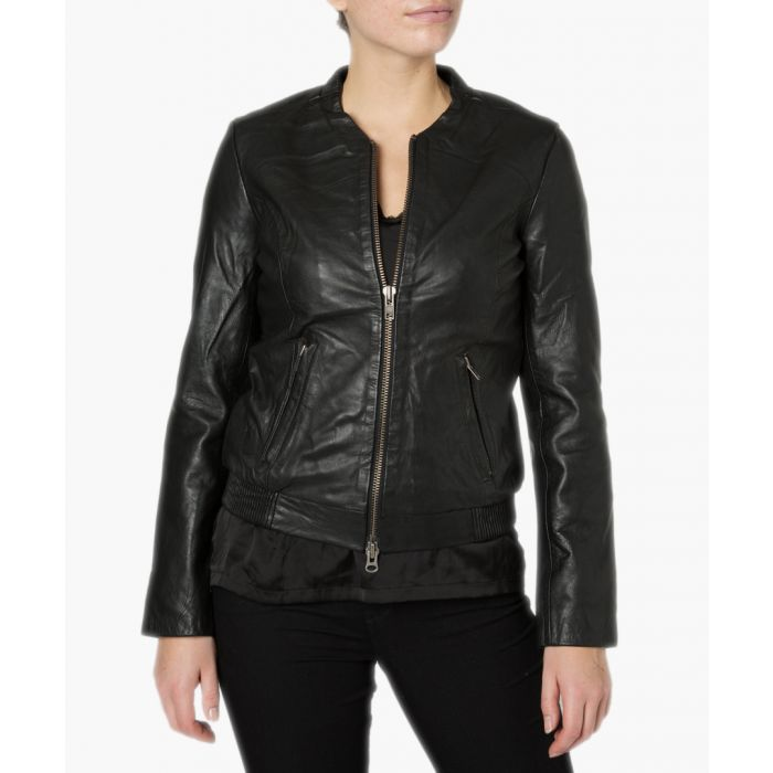 Image for Steenbras black leather bomber
