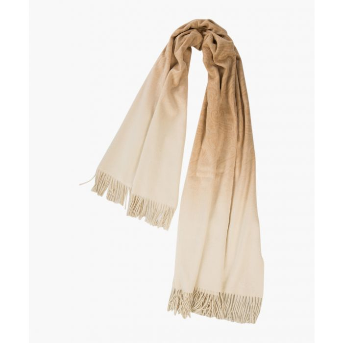 Image for Arran ombre paisley dune pure cashmere scarf