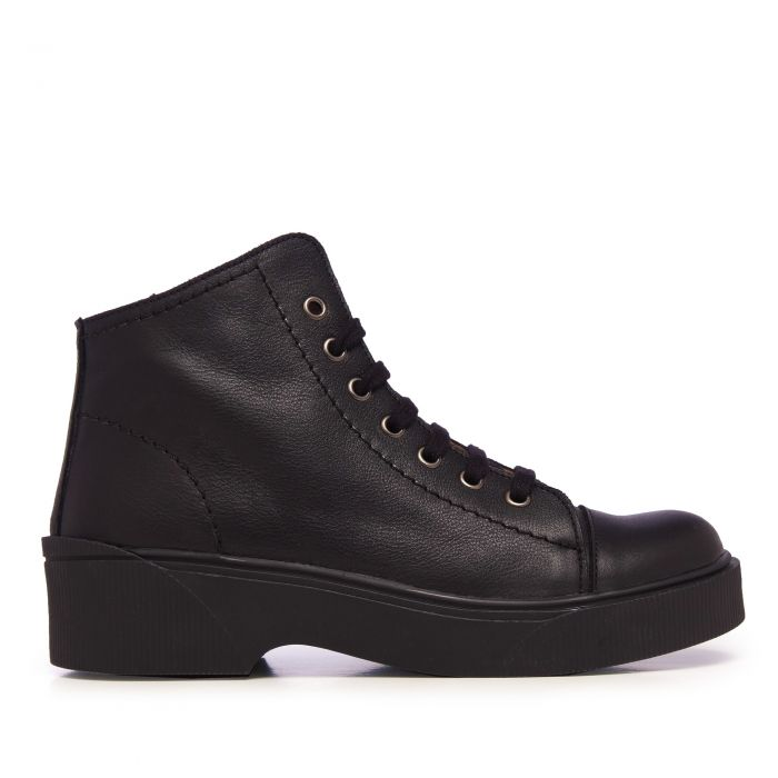 Image for Womens black leather ankle boots