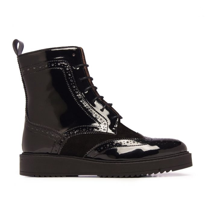 Image for María Barceló Leather Boots Women Laces Black