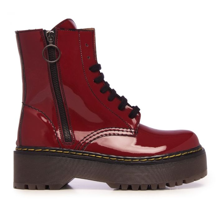 Image for Womens burgundy patent leather platform boots
