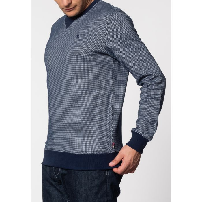 Image for Shelton Birdseye Crew Neck Sweat With Long Sleeves In Navy