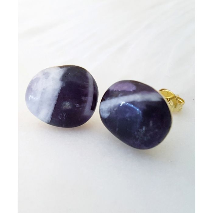 Image for 18k gold-plated and dream amethyst earrings