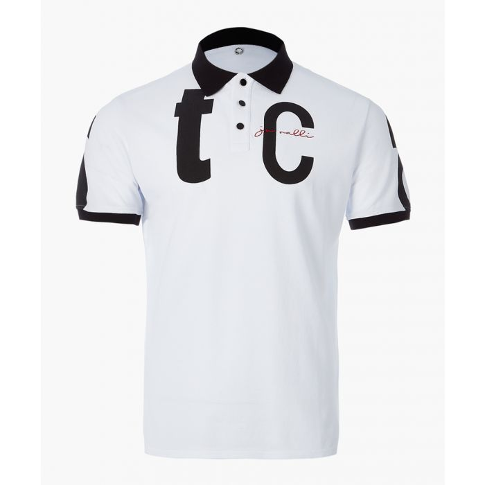 Image for White logo print polo shirt