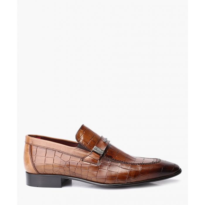 Image for Brown leather crocodile detail loafers