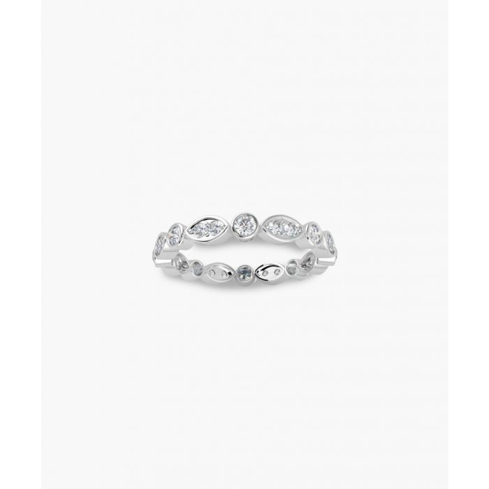 Image for 9k white gold 0.50ct marquise and round diamond ring