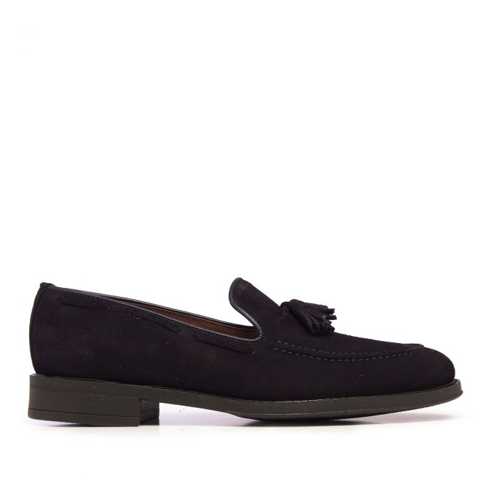 Image for Navy leather tassel loafers