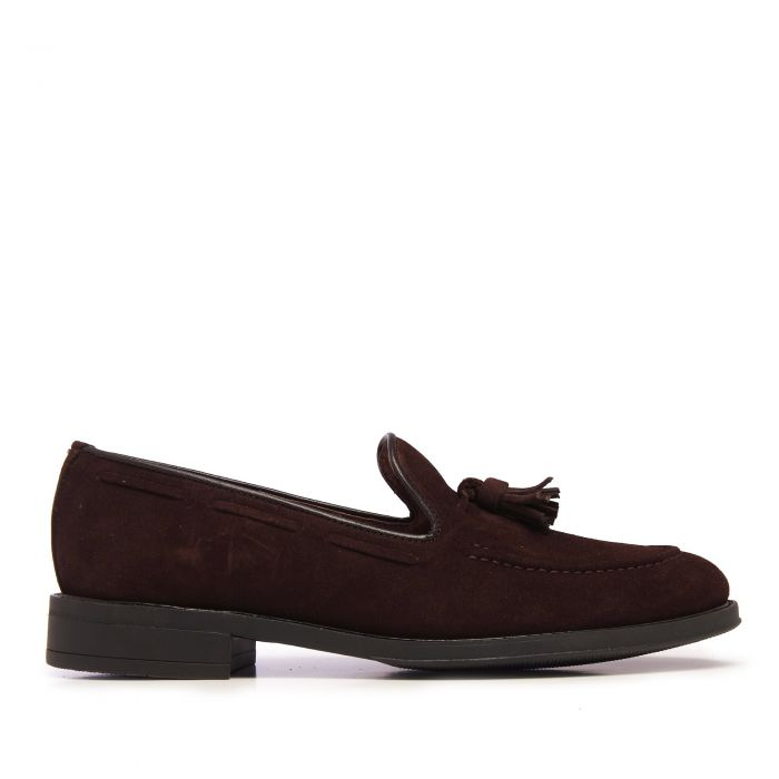 Image for Brown leather tassel moccasins