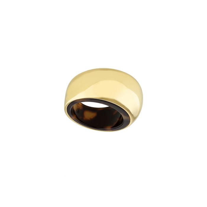 Image for Gold-tone steel tortoiseshell ring
