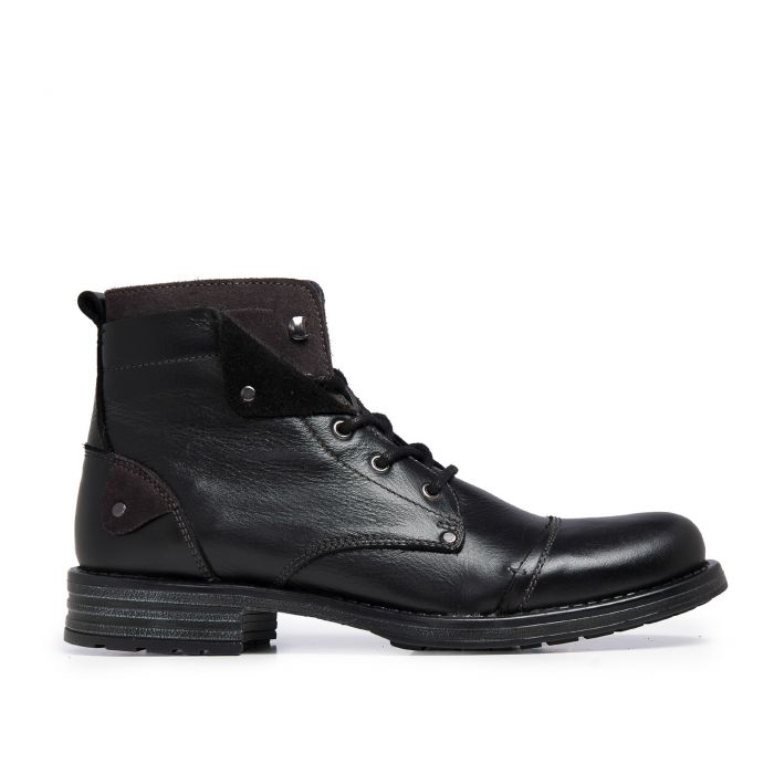 Image for Castellanisimos Leather Black Men Boots Winter Shoes Laces