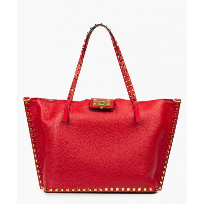 Image for Hype red leather rockstud tote