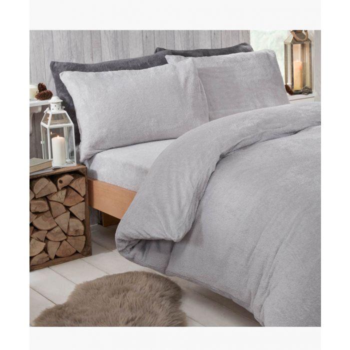 Image for Grey teddy fleece king duvet set