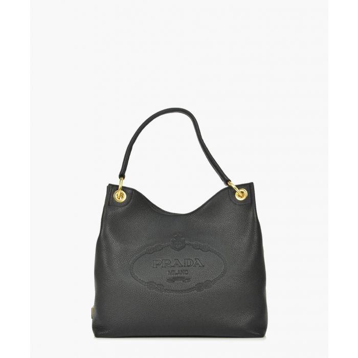 Image for Vitello Phenix black leather hobo bag