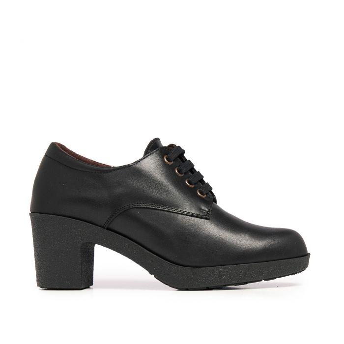 Image for Castellanisimos Leather Women Black Blucher Shoes Laces