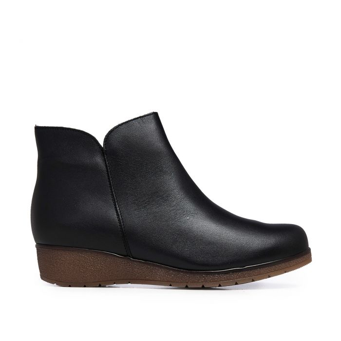 Image for Castellanisimos Leather Ankle Black Boot Women Winter Shoes