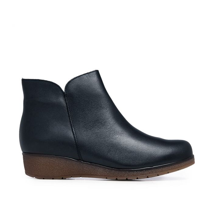 Image for Castellanisimos Leather Ankle Navy Blue Boot Women Winter Shoes
