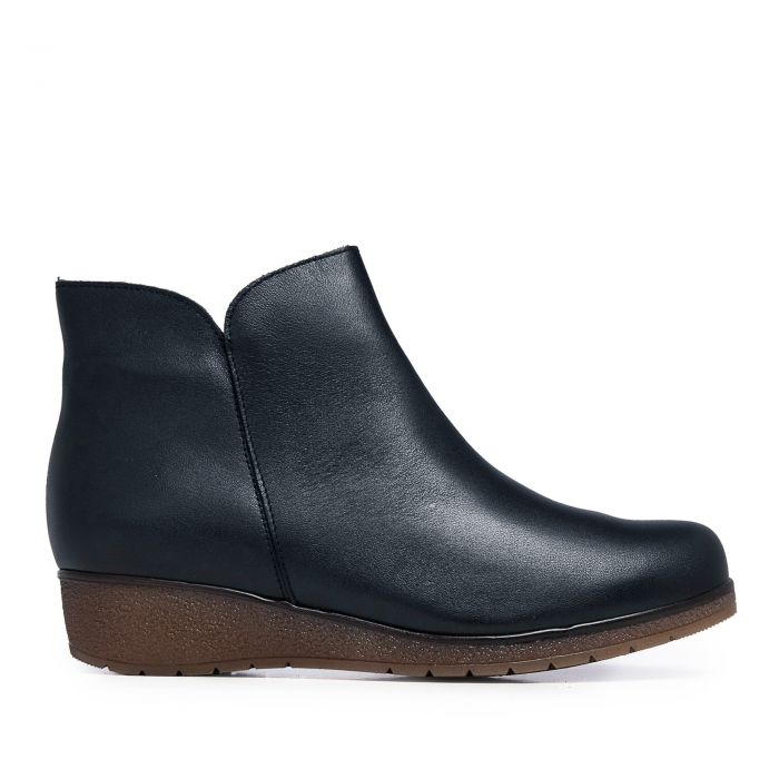 Image for Womens navy blue leather ankle boots