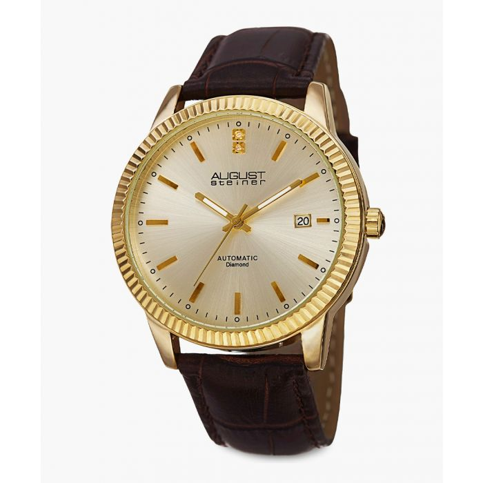 Image for Gold-tone and croc-embossed leather watch