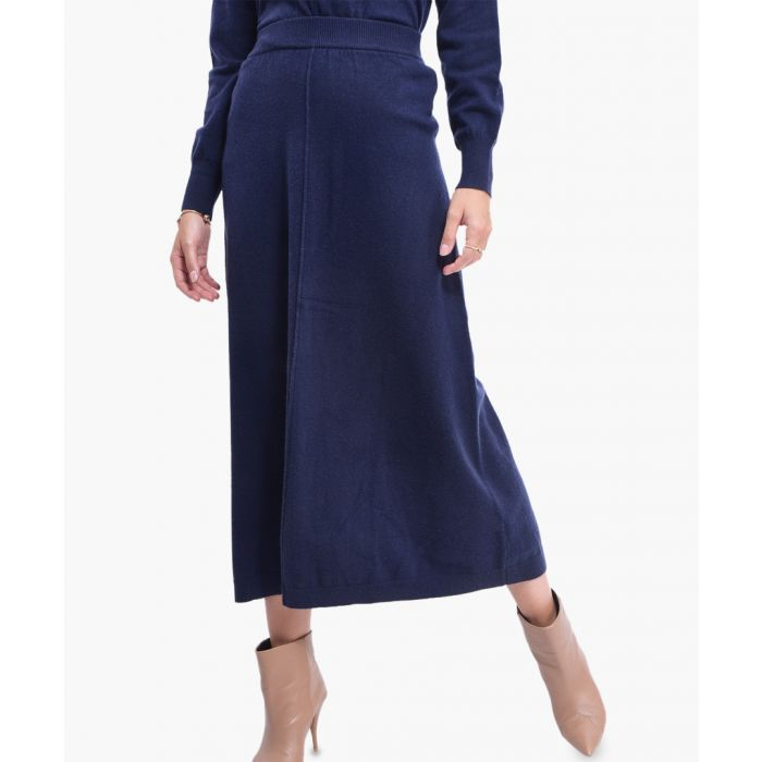 Image for Blue cashmere and silk blend skirt
