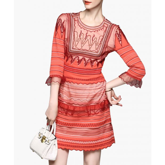 Image for Orange 3/4 sleeve striped mini dress