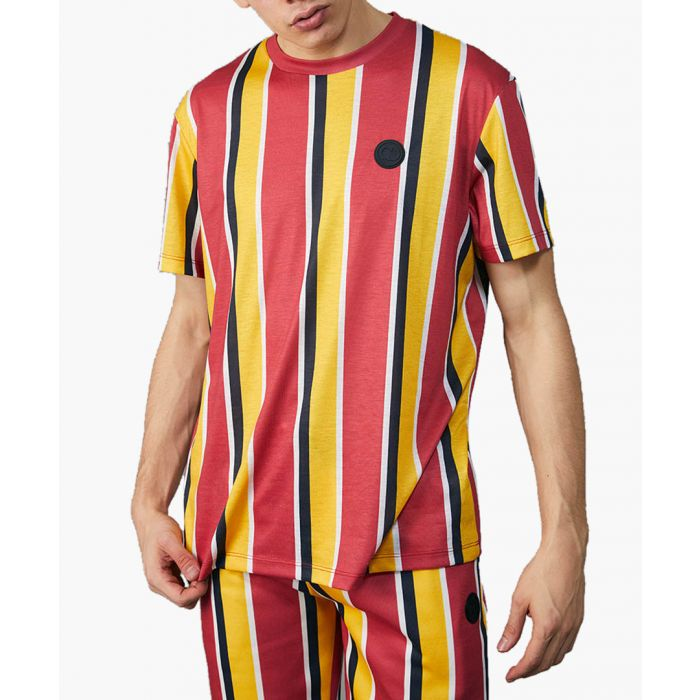 Image for Red and multi-coloured striped crew neck shirt
