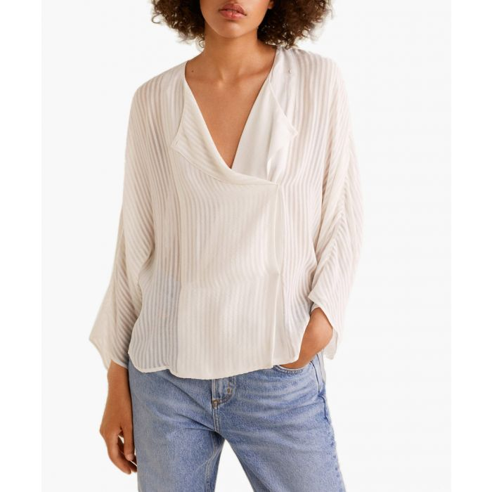 Image for Off-white textured chiffon blouse