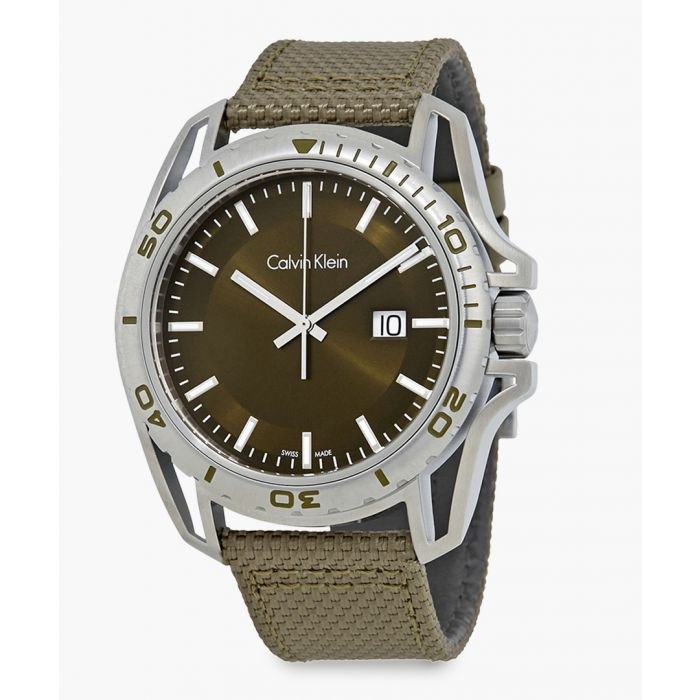 Image for Silver-plated and khaki canvas strap watch