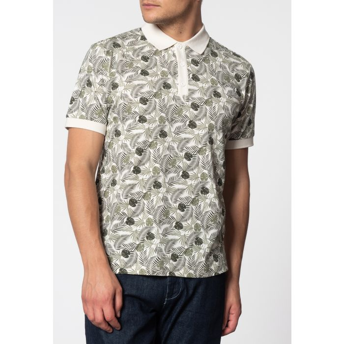 Image for GASTON, short sleeve palm print polo shirt in Off White