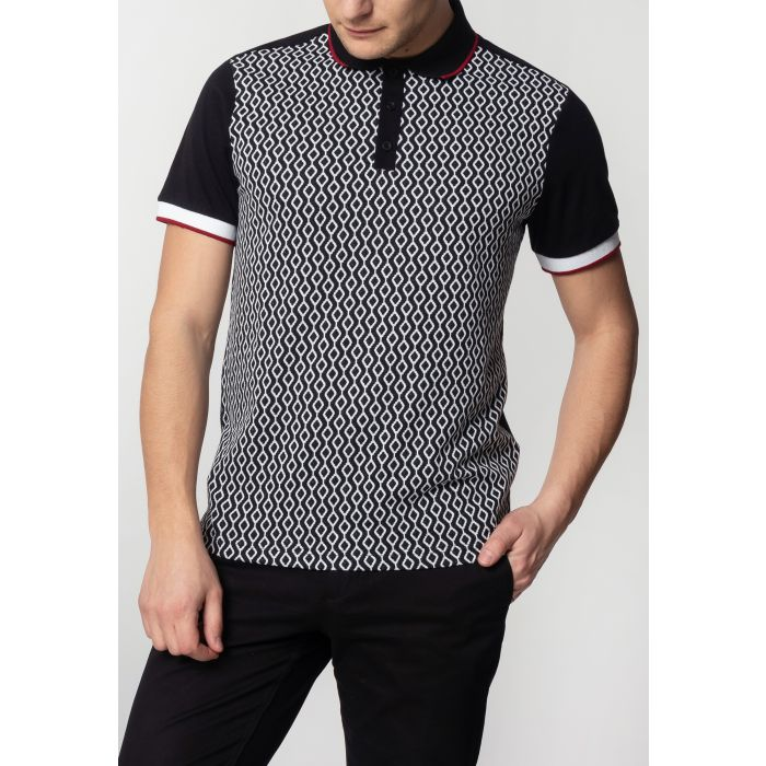 Image for Swift Mens Cotton Polo Shirt with Jacquard Geo Pattern in Black
