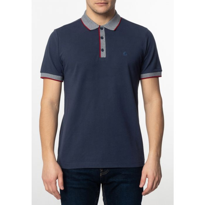 Image for Rupert Mens Plain Cotton Polo Shirt with Collar and Sleeve Contrast Details in Dark Blue