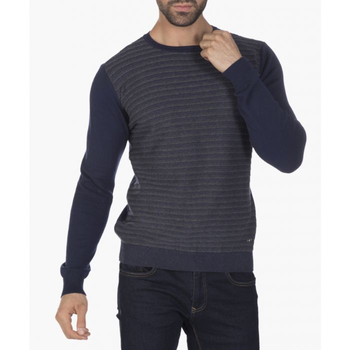 Image for Navy blue and grey cotton striped jumper