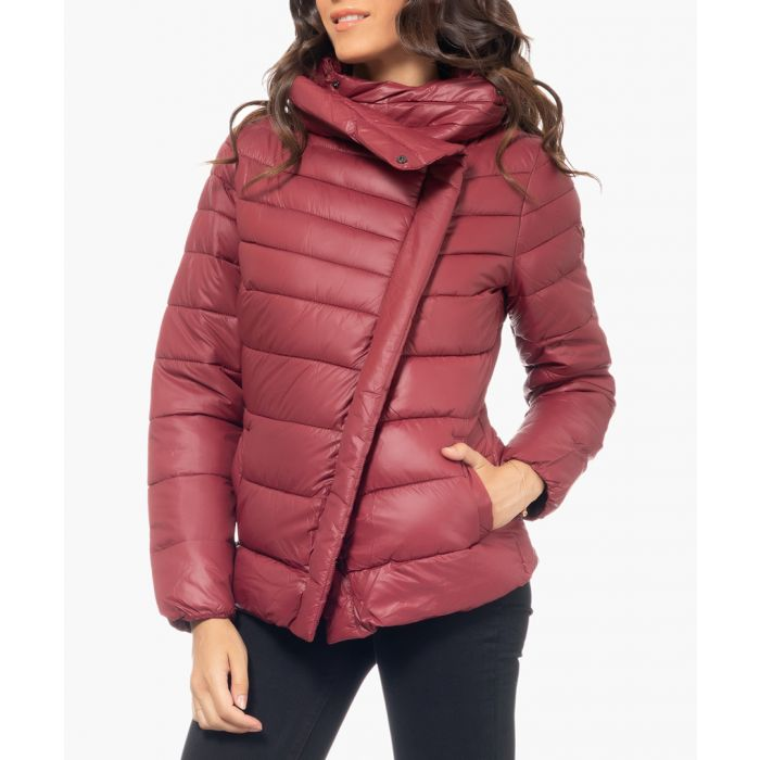 Image for Burgundy high-neck puffer coat