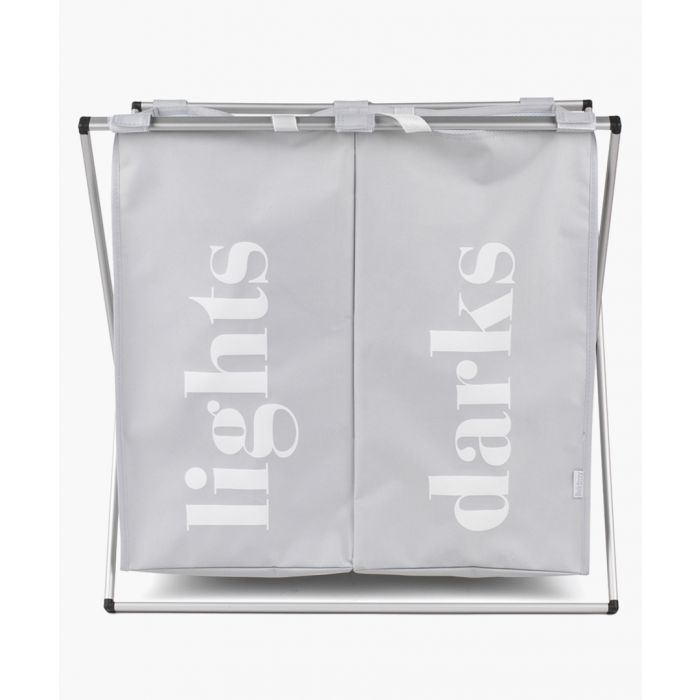 Image for Grey 2-compartment folding laundry hamper